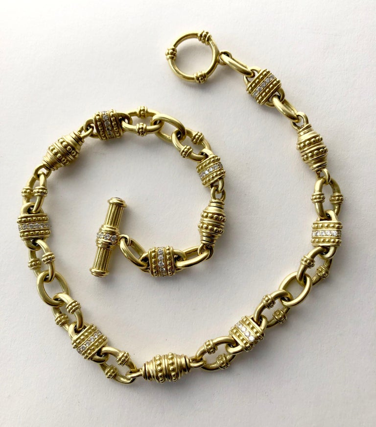 Vintage 18k gold and diamond chain link necklace by Judith Ripka.  Necklace measures 18