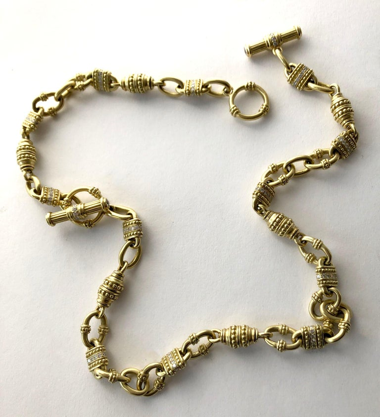 Vintage Judith Ripka 18 Karat Gold Diamond Chain Link Necklace In Good Condition For Sale In Los Angeles, CA