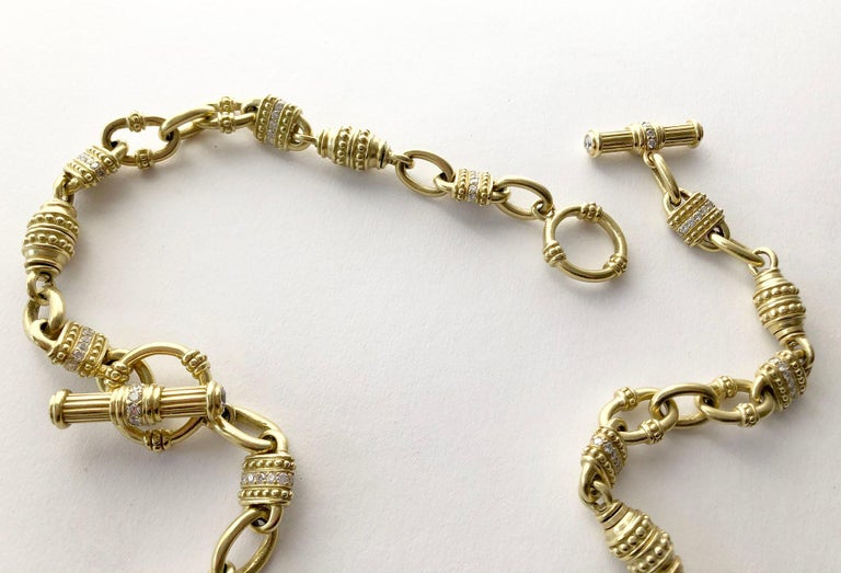 Women's Vintage Judith Ripka 18 Karat Gold Diamond Chain Link Necklace For Sale