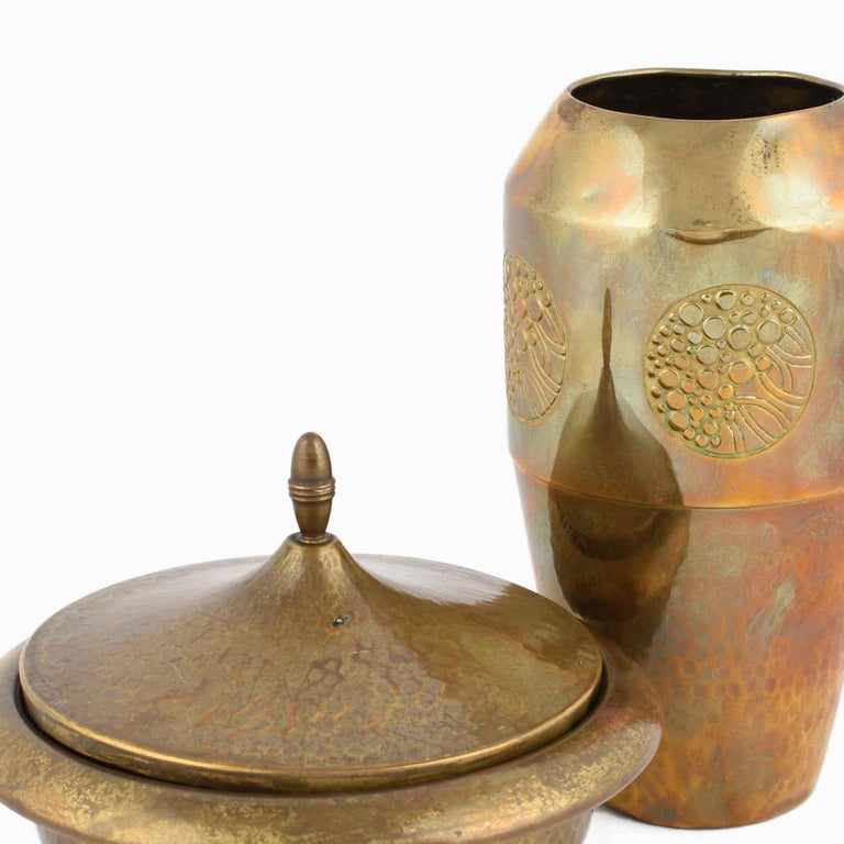 Art Nouveau Vintage Jugendstil Brass Can and Vase by WMF, Germany, 1910s For Sale
