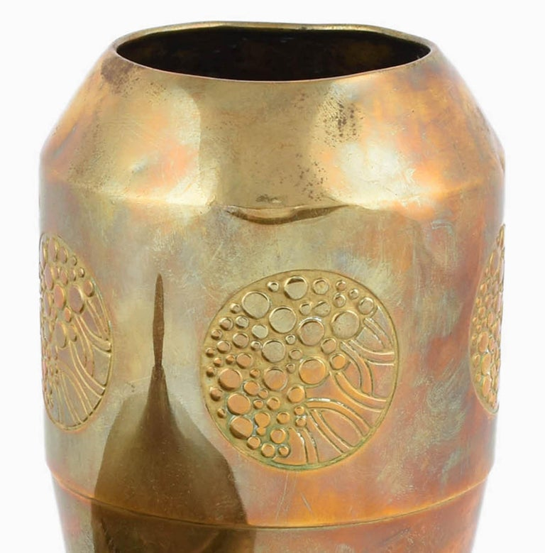 Vintage Jugendstil Brass Can and Vase by WMF, Germany, 1910s In Good Condition For Sale In Roma, IT