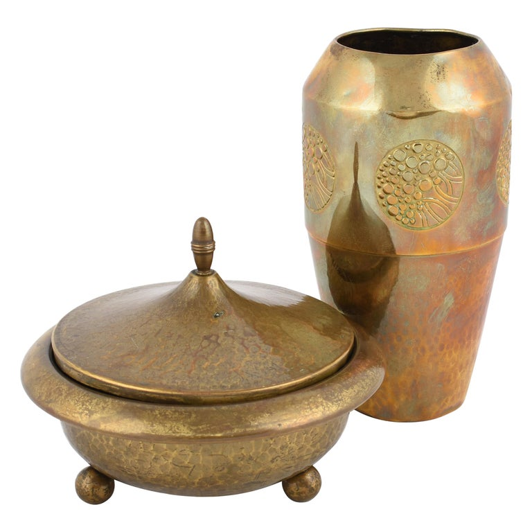 Vintage Jugendstil Brass Can and Vase by WMF, Germany, 1910s For Sale