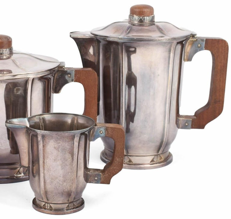 Early 20th Century Vintage Jugendstil Silver Plated Coffee Set, Germany, 1910s-1920s For Sale