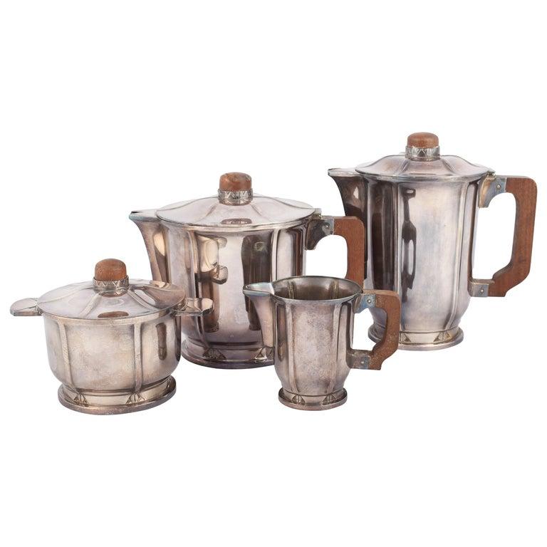 Vintage Jugendstil Silver Plated Coffee Set, Germany, 1910s-1920s For Sale