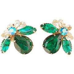 Vintage Juliana Style Emerald Green Crystal Statement Earrings, 1960s
