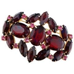 Vintage Juliana-Style Ruby Red Crystal Rhinestone Brooch