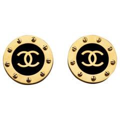 Vintage Jumbo CHANEL CC Logo Screw Disc Earrings