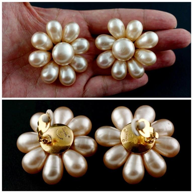 Vintage Jumbo CHANEL Champagne Glass Pearl Flower Earrings For Sale 1