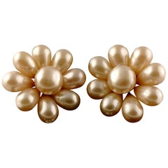 Vintage Jumbo CHANEL Champagne Glass Pearl Flower Earrings