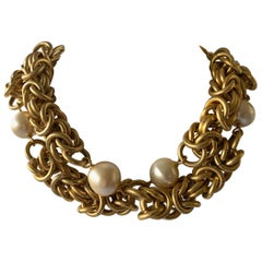 Vintage Jumbo Chanel Gold and Pearl Runway Necklace