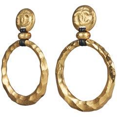 Vintage Jumbo CHANEL Logo Hammered Hoop Dangle Earrings As Seen on Beyonce