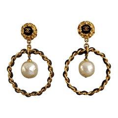 Vintage Jumbo CHANEL Logo Pearl Leather Chain Hoop Earrings