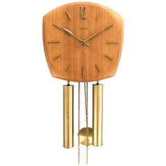 Vintage Junghans Pendulum Wall Clock in Form Pressed Teak Veneer from the 1960s