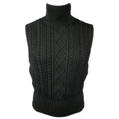 Vintage JUNIOR GAULTIER Size M Black Knitted Wool / Acrylic Turtleneck Vest