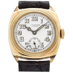 Vintage JW Benson Cushion-Shaped 9 Karat Yellow Gold Watch, 1920s