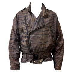 Vintage K-Way Tiger Print Pac-a-Mac Biker Jacket