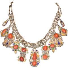 Vintage Kabyle Berber Tribal Silver Enamel Coral Collar