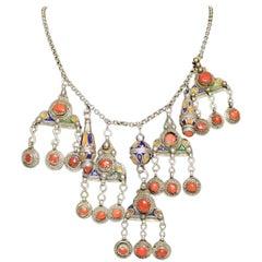 Vintage Kabyle Berber Tribal Silver Enamel Coral Necklace