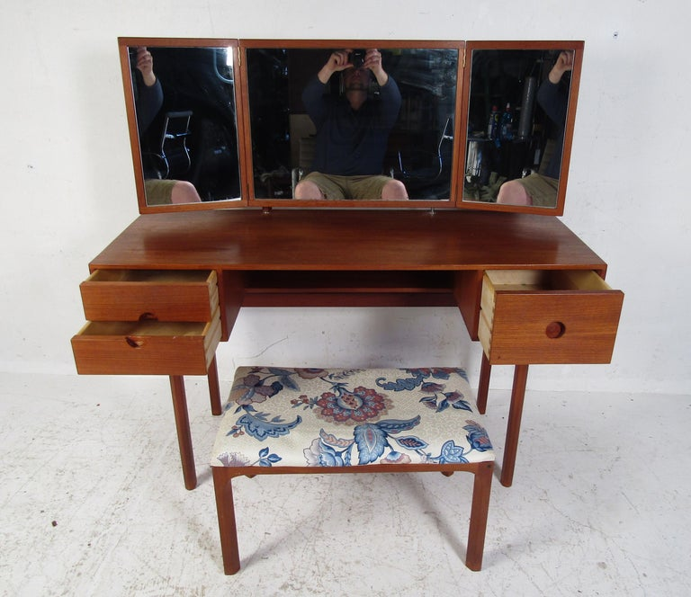 Mid-Century Modern Vintage Kai Kristiansen Vanity Table and Stool by Aksel Kjersgaard For Sale