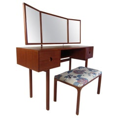 Vintage Kai Kristiansen Vanity Table and Stool by Aksel Kjersgaard