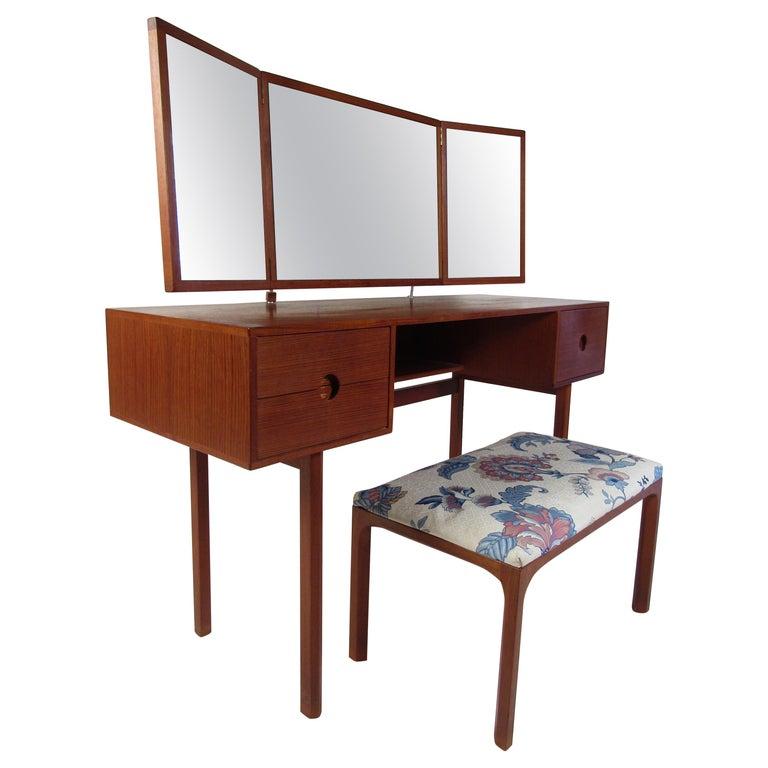Vintage Kai Kristiansen Vanity Table and Stool by Aksel Kjersgaard For Sale