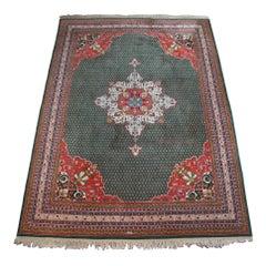 Vintage Kaimuri 100% Wool Tabriz Mahi Medallion Area Rug Carpet, India