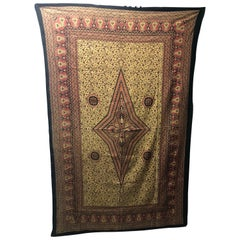 "Vintage ""Kalamkari"" Hand-Blocked Red and Gold Cloth"