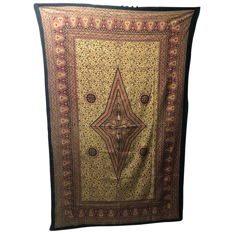 "Vintage ""Kalamkari"" Hand-Blocked Red and Gold Cloth For Sale"
