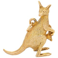 Vintage Kangaroo Charm 14 Karat Gold Joey in Pouch Australia Animal Jewelry
