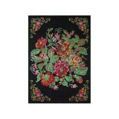 Vintage Karabagh Rug with Floral Pattern