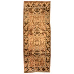 Vintage Karabagh Salmon & Dark Brown Handwoven Wool Rug
