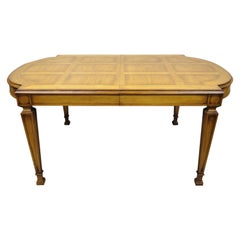Vintage Karges Italian Provincial Parquetry Inlay Top Dining Table with 3 Leaves