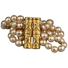 Vintage KARL LAGERFELD Bamboo Multi Strand Pearl Cuff Bracelet