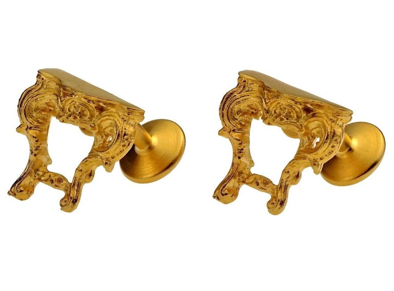 Women's Vintage KARL LAGERFELD Baroque Table Cuff Links For Sale