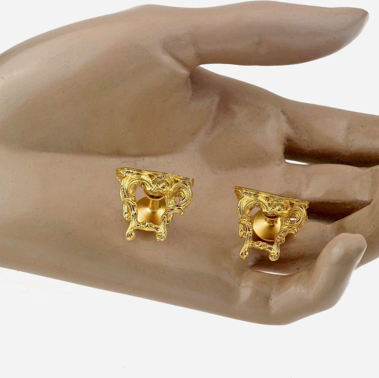 Vintage KARL LAGERFELD Baroque Table Cuff Links For Sale 3