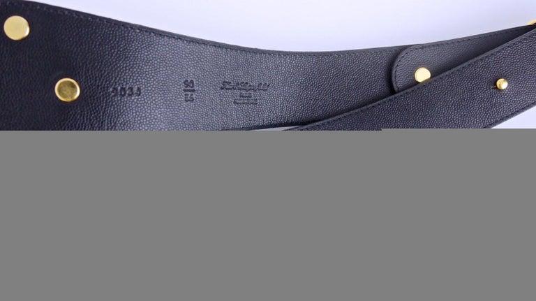 Vintage KARL LAGERFELD Black Iconic Logo Belt For Sale 1