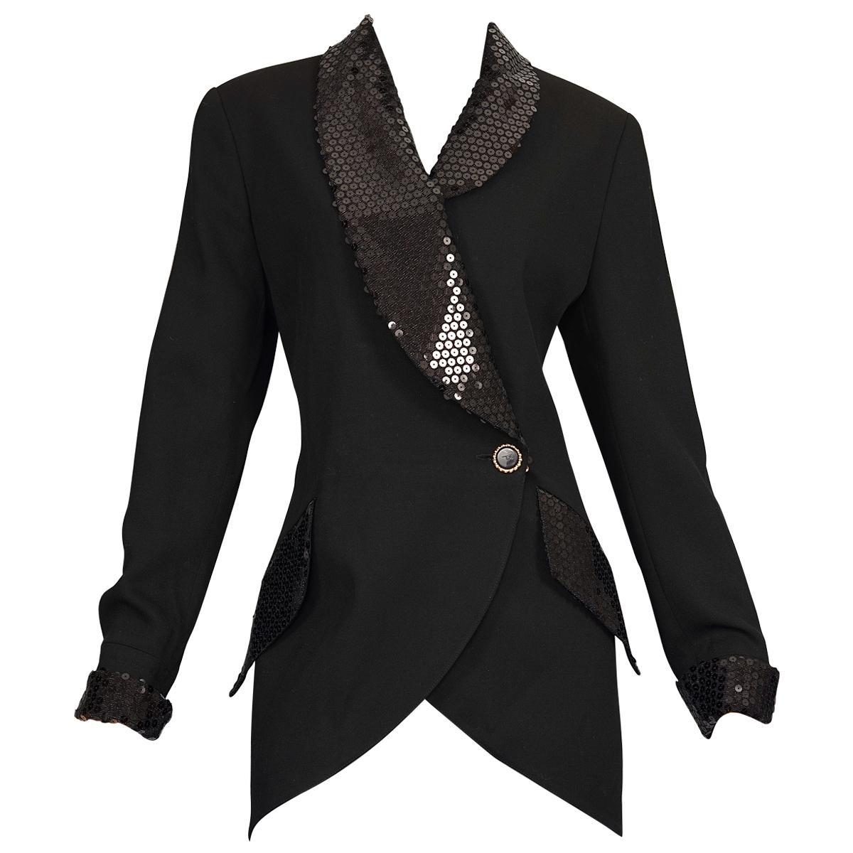 Vintage KARL LAGERFELD Black Sequin Blazer Jacket