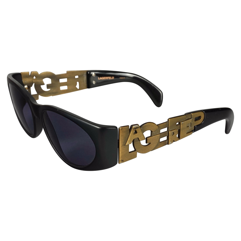 Vintage KARL LAGERFELD Bronze Spelled Logo Sunglasses