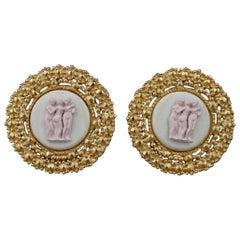 Vintage KARL LAGERFELD Ceramic Figural Earrings