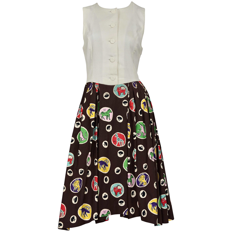 Vintage KARL LAGERFELD Colorful Logo Print Pleated Sleeveless Dress