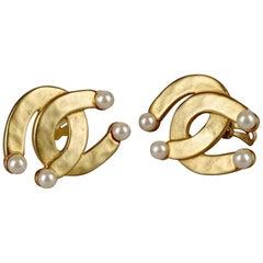 Vintage KARL LAGERFELD Double Horseshoe Pearl Earrings