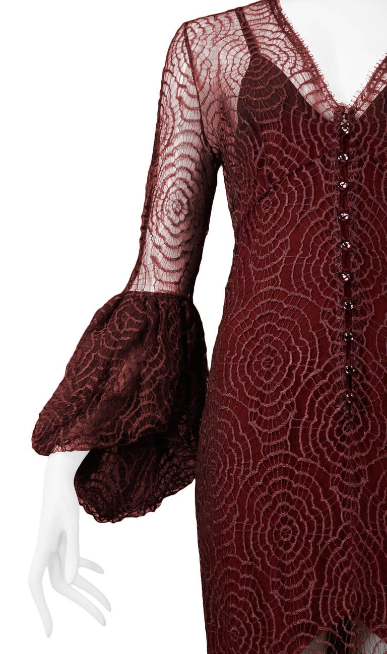Vintage Karl Lagerfeld for Chloé 1994 Burgundy Lace Gown In Excellent Condition For Sale In Los Angeles, CA
