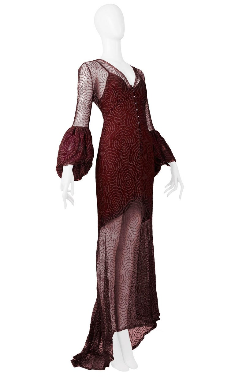 Women's Vintage Karl Lagerfeld for Chloé 1994 Burgundy Lace Gown For Sale