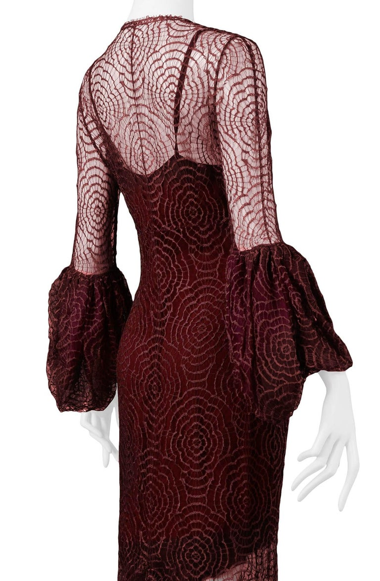 Vintage Karl Lagerfeld for Chloé 1994 Burgundy Lace Gown For Sale 1