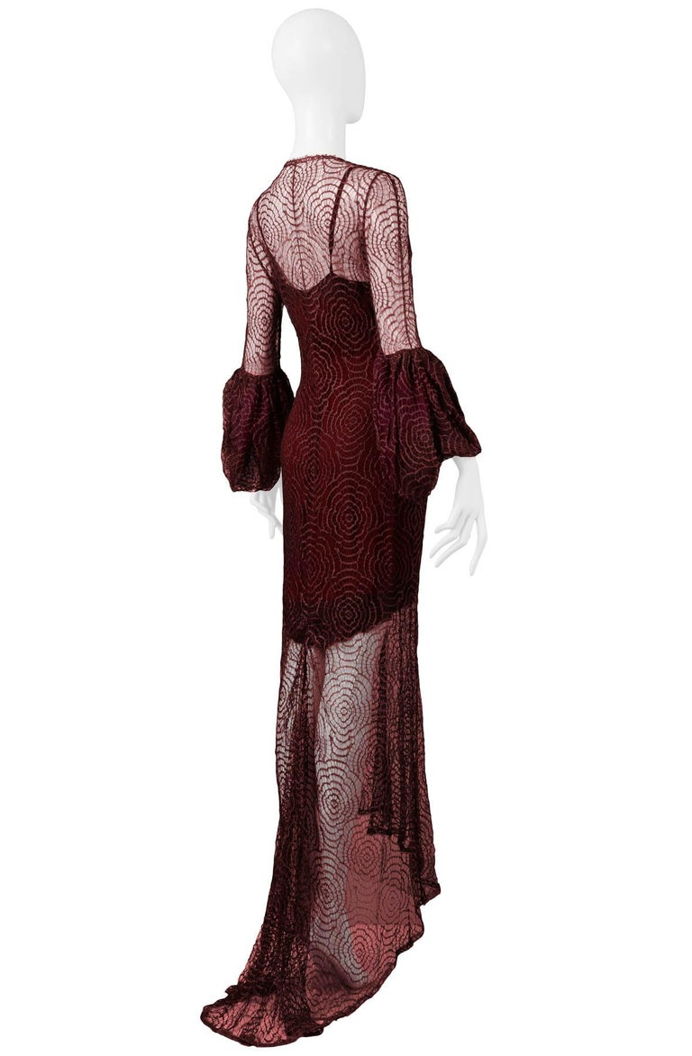 Vintage Karl Lagerfeld for Chloé 1994 Burgundy Lace Gown For Sale 2
