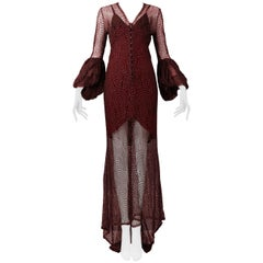 Vintage Karl Lagerfeld for Chloé 1994 Burgundy Lace Gown