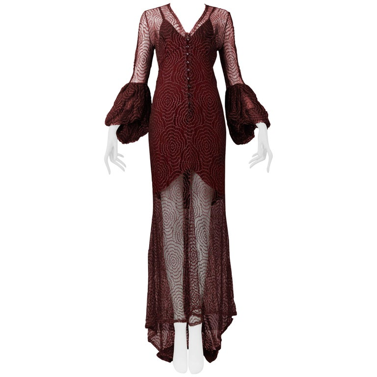 Vintage Karl Lagerfeld for Chloé 1994 Burgundy Lace Gown For Sale