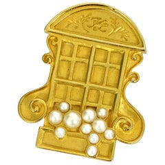 Vintage KARL LAGERFELD French Window Brooch
