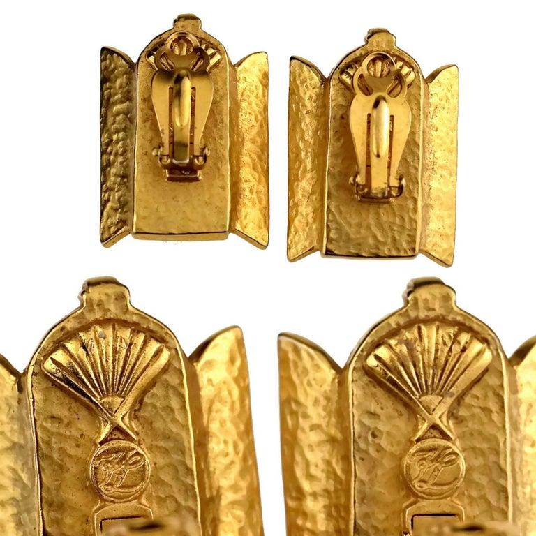 Vintage KARL LAGERFELD French Window Enamel Earrings For Sale 6