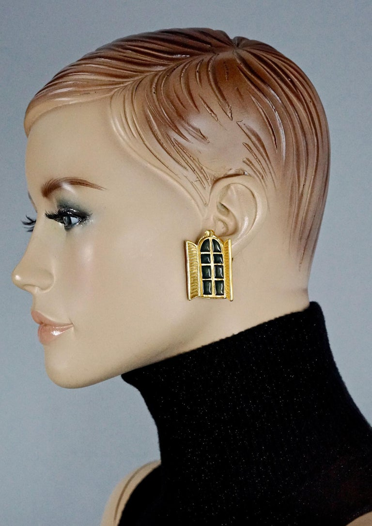 Vintage KARL LAGERFELD French Window Enamel Earrings  Measurements: Height: 1.53 inches (3.9 cm) Width: 1.10 inches (2.8 cm) Weight per Earring: 17 grams  Features: - 100% Authentic KARL LAGERFELD. - Detailed French window in open position. - Black